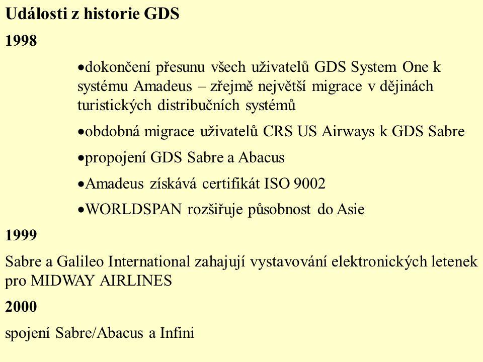 Události z historie GDS 1998  dokončení přesunu všech uživatelů GDS System One k systému Amadeus – zřejmě největší migrace v dějinách turistických distribučních systémů  obdobná migrace uživatelů CRS US Airways k GDS Sabre  propojení GDS Sabre a Abacus  Amadeus získává certifikát ISO 9002  WORLDSPAN rozšiřuje působnost do Asie 1999 Sabre a Galileo International zahajují vystavování elektronických letenek pro MIDWAY AIRLINES 2000 spojení Sabre/Abacus a Infini