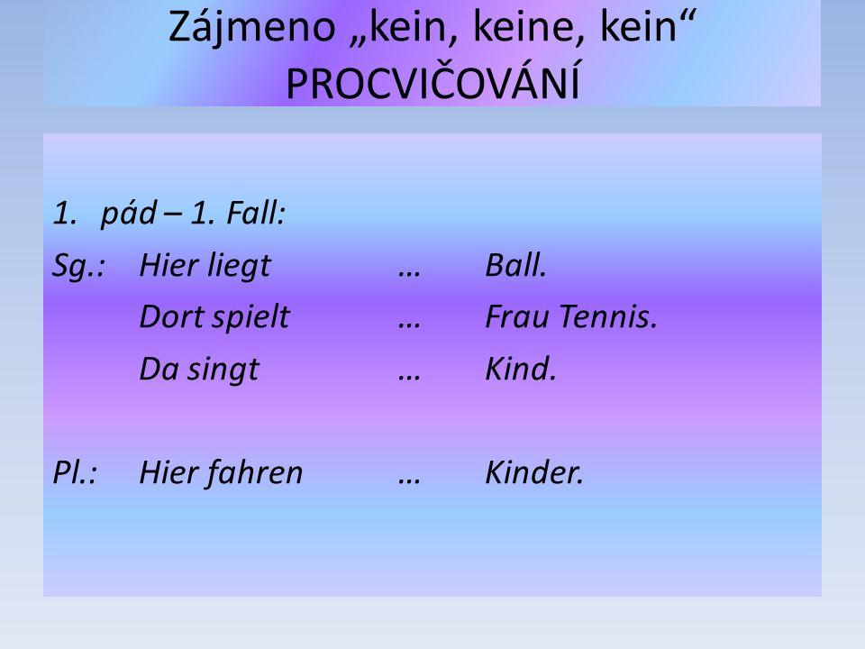 "Zájmeno ""kein, keine, kein"" PROCVIČOVÁNÍ 1.pád – 1. Fall: Sg.: Hier liegt …Ball. Dort spielt…Frau Tennis. Da singt …Kind. Pl.:Hier fahren …Kinder."