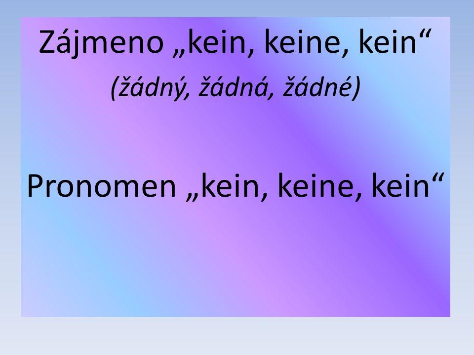 "Zájmeno ""kein, keine, kein (žádný, žádná, žádné) Pronomen ""kein, keine, kein"