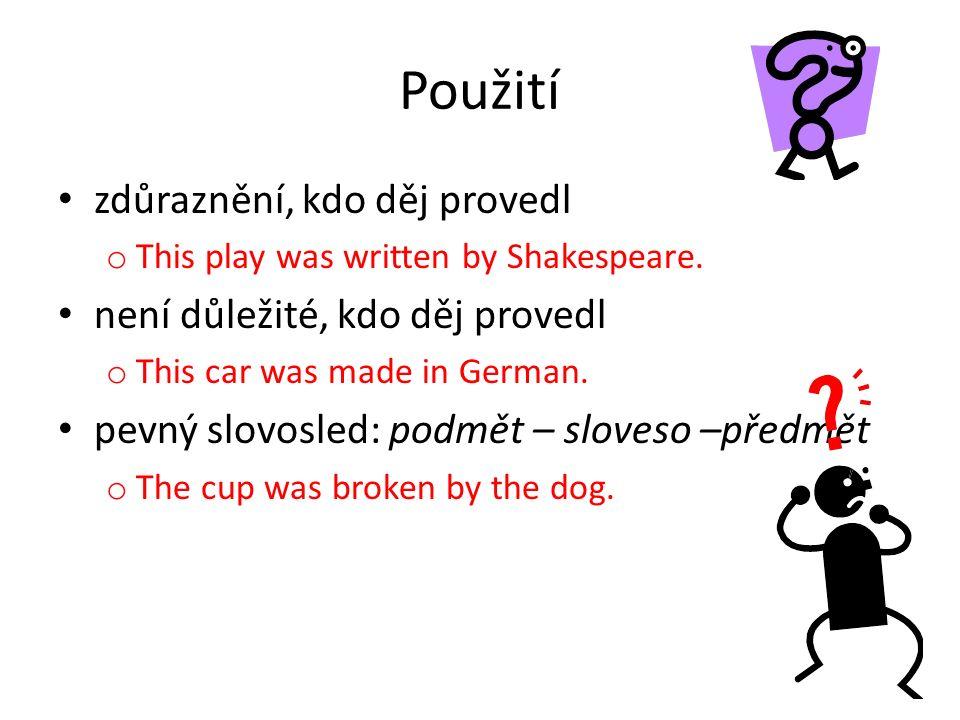 Použití zdůraznění, kdo děj provedl o This play was written by Shakespeare.