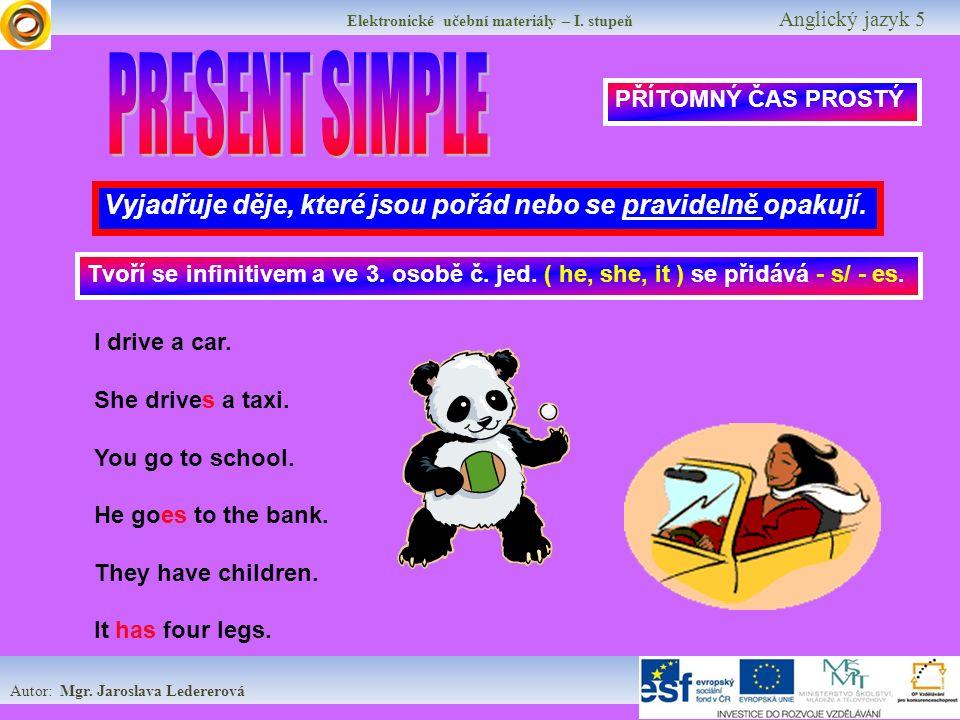 Elektronické učební materiály – I.stupeň Anglický jazyk 5 Procvičování AFFIRMATIVE Practice: I ….