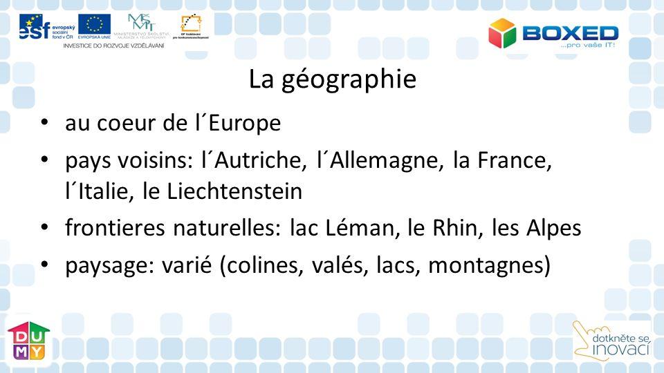 La géographie au coeur de l´Europe pays voisins: l´Autriche, l´Allemagne, la France, l´Italie, le Liechtenstein frontieres naturelles: lac Léman, le Rhin, les Alpes paysage: varié (colines, valés, lacs, montagnes)