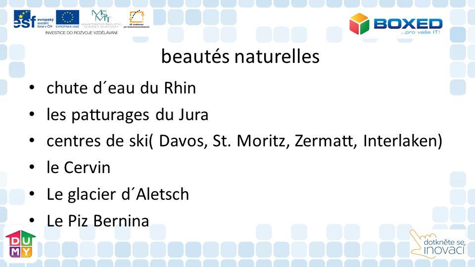 beautés naturelles chute d´eau du Rhin les patturages du Jura centres de ski( Davos, St. Moritz, Zermatt, Interlaken) le Cervin Le glacier d´Aletsch L