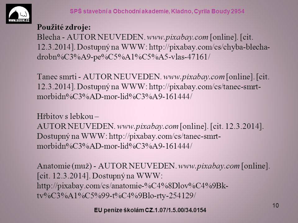 SPŠ stavební a Obchodní akademie, Kladno, Cyrila Boudy 2954 EU peníze školám CZ.1.07/1.5.00/34.0154 10 Použité zdroje: Blecha - AUTOR NEUVEDEN.