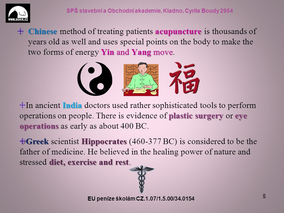 SPŠ stavební a Obchodní akademie, Kladno, Cyrila Boudy 2954 Chineseacupuncture Yin and Yang move Chinese method of treating patients acupuncture is th