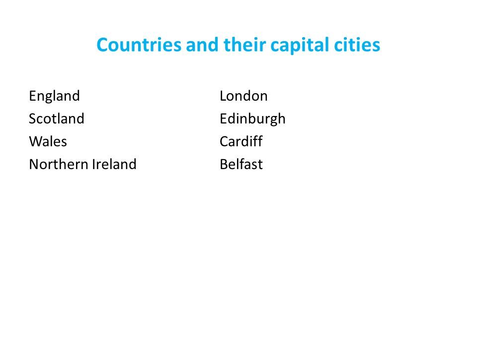 Countries and their capital cities England London ScotlandEdinburgh WalesCardiff Northern Ireland Belfast