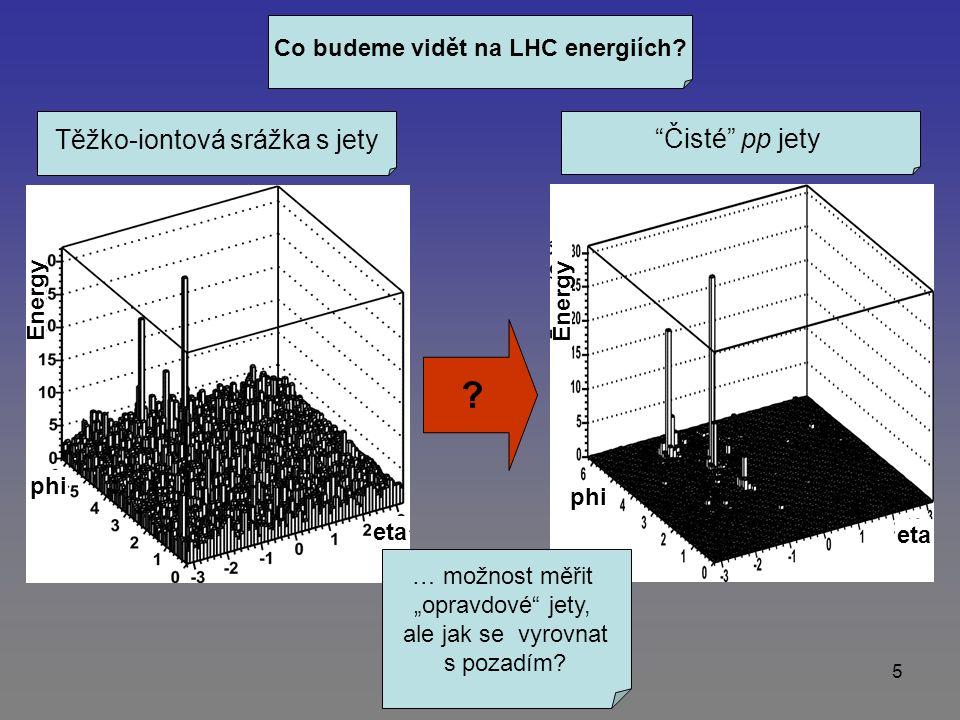 5 Co budeme vidět na LHC energiích.Těžko-iontová srážka s jety Čisté pp jety .