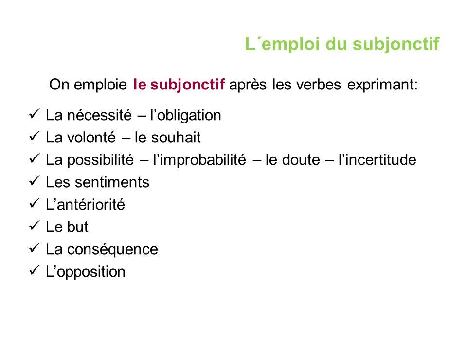 L´emploi du subjonctif On emploie le subjonctif après les verbes exprimant: La nécessité – l'obligation La volonté – le souhait La possibilité – l'imp