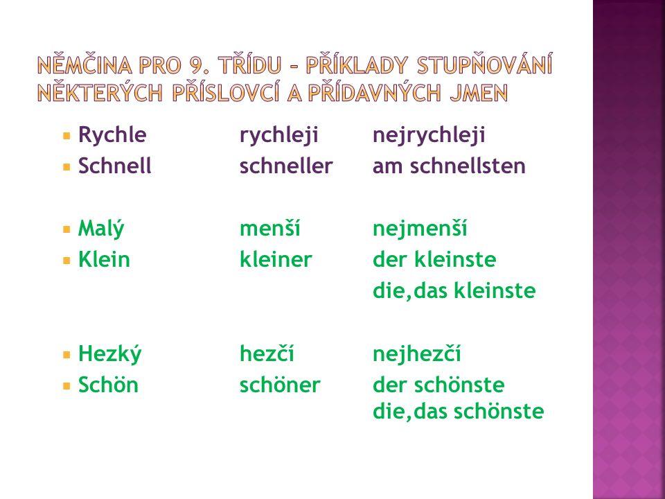 Rychlerychlejinejrychleji  Schnellschnelleram schnellsten  Malýmenšínejmenší  Kleinkleinerder kleinste die,das kleinste  Hezkýhezčínejhezčí  Sc