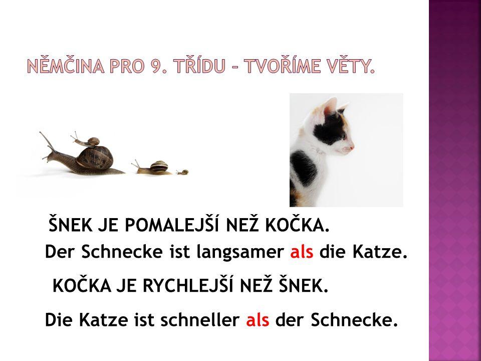 ŠNEK JE POMALEJŠÍ NEŽ KOČKA. Der Schnecke ist langsamer als die Katze. KOČKA JE RYCHLEJŠÍ NEŽ ŠNEK. Die Katze ist schneller als der Schnecke.