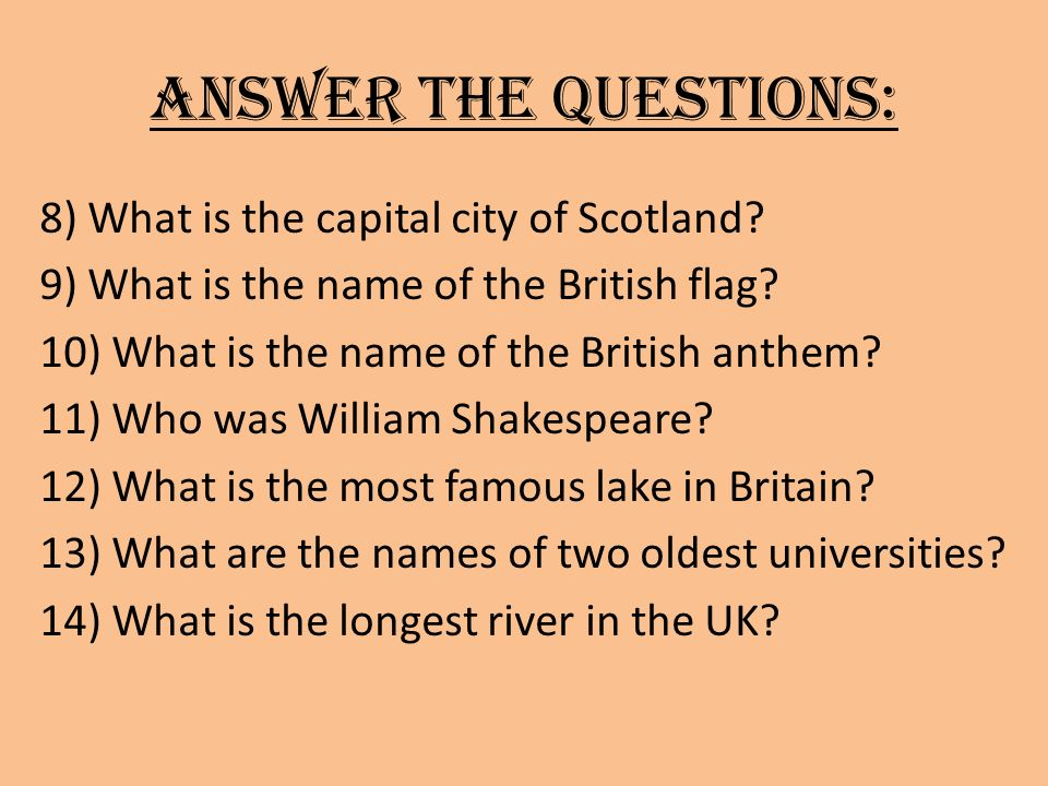 Solution: 1)Name all parts of the UK.