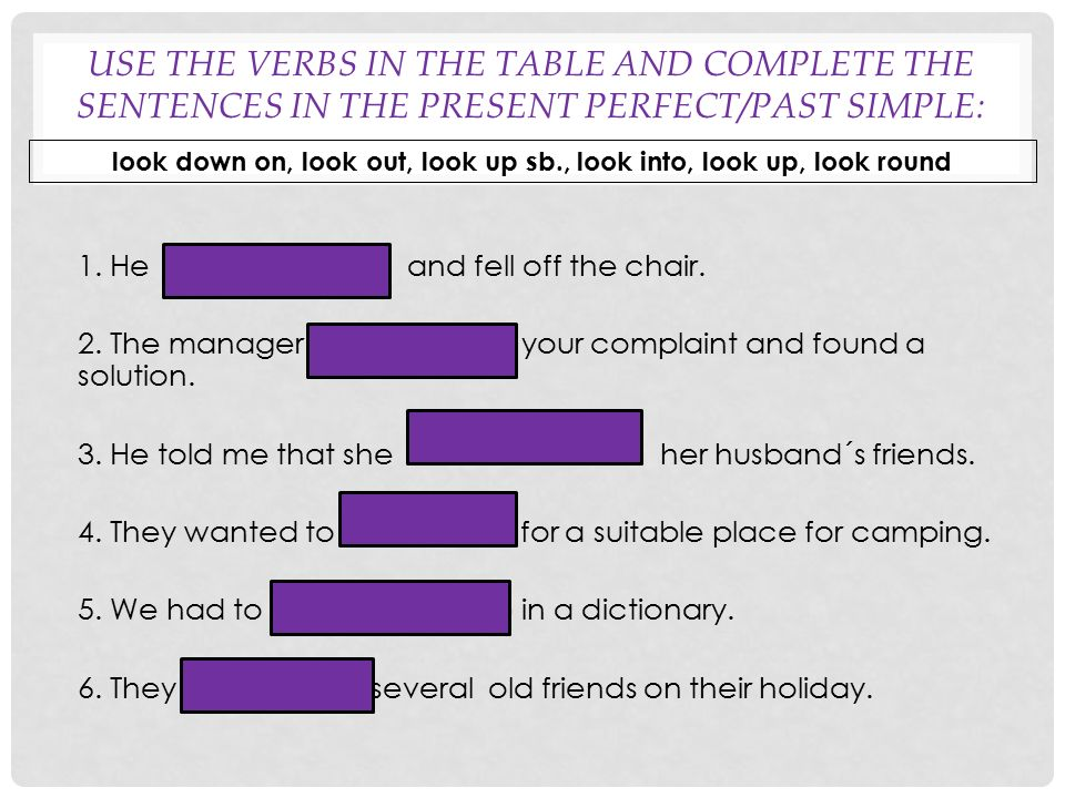 USE THE VERBS IN THE TABLE AND COMPLETE THE SENTENCES IN THE PRESENT PERFECT/PAST SIMPLE: 1. He didn´t look out and fell off the chair. 2. The manager