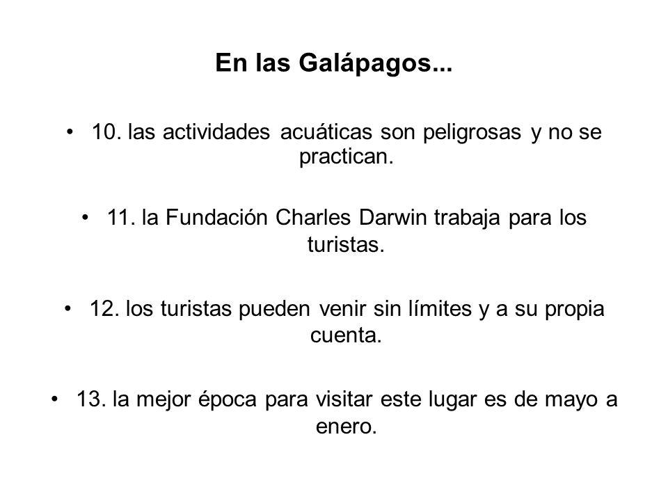 En las Galápagos... 10. las actividades acuáticas son peligrosas y no se practican. 11. la Fundación Charles Darwin trabaja para los turistas. 12. los