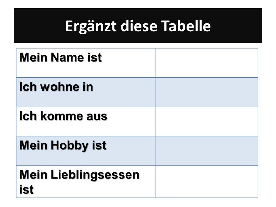 Ergänzt diese Tabelle Mein Name ist Ich wohne in Ich komme aus Mein Hobby ist Mein Lieblingsessen ist