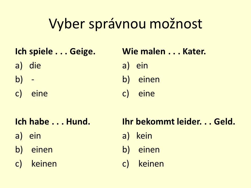 Vyber správnou možnost Ich spiele... Geige. a)die b) - c) eine Ich habe...