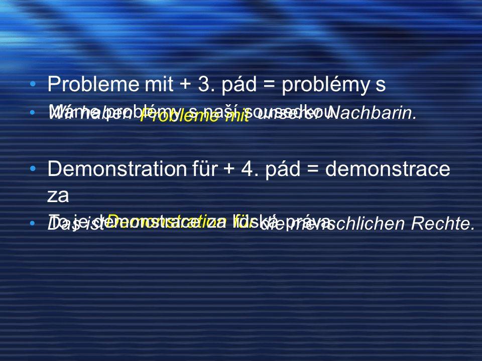 Probleme mit + 3.pád = problémy s Wir haben unserer Nachbarin.