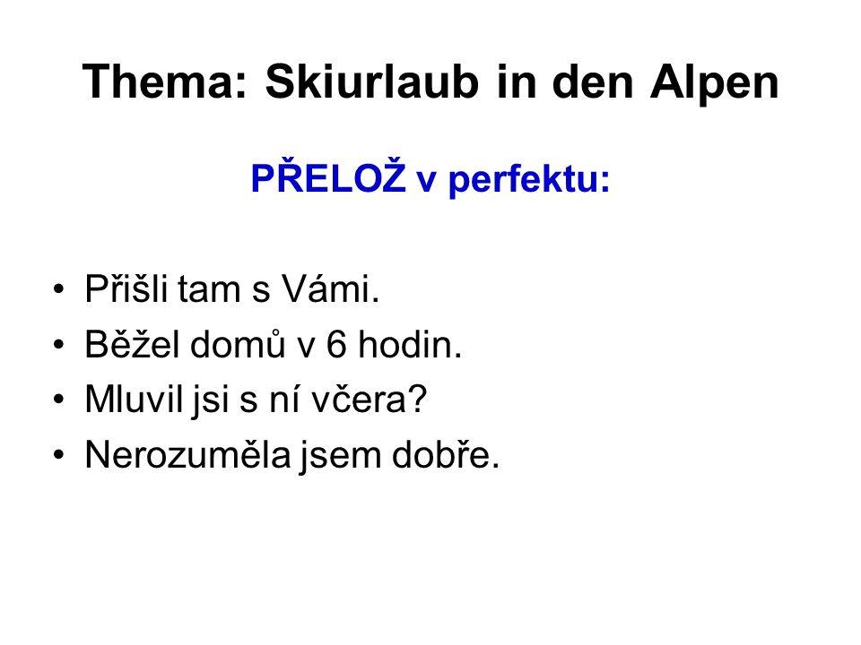 Thema: Skiurlaub in den Alpen PŘELOŽ v perfektu: Přišli tam s Vámi.