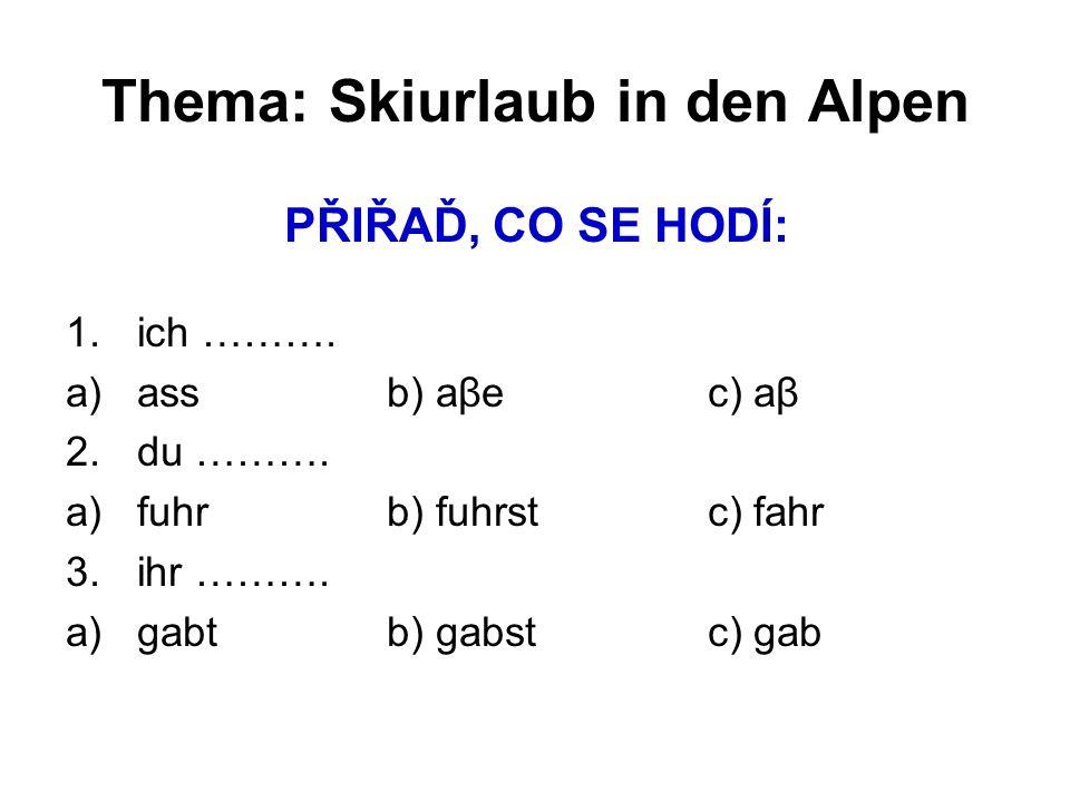 Thema: Skiurlaub in den Alpen PŘIŘAĎ, CO SE HODÍ: 1.ich ……….