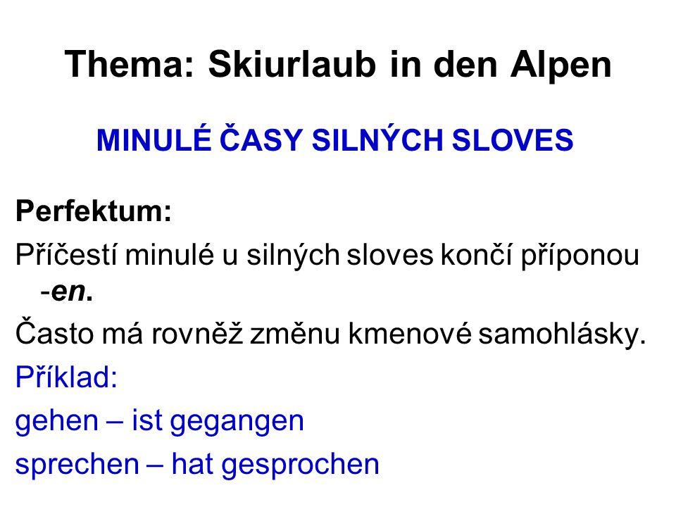 Thema: Skiurlaub in den Alpen MINULÉ ČASY SILNÝCH SLOVES Perfektum: Příčestí minulé u silných sloves končí příponou -en.