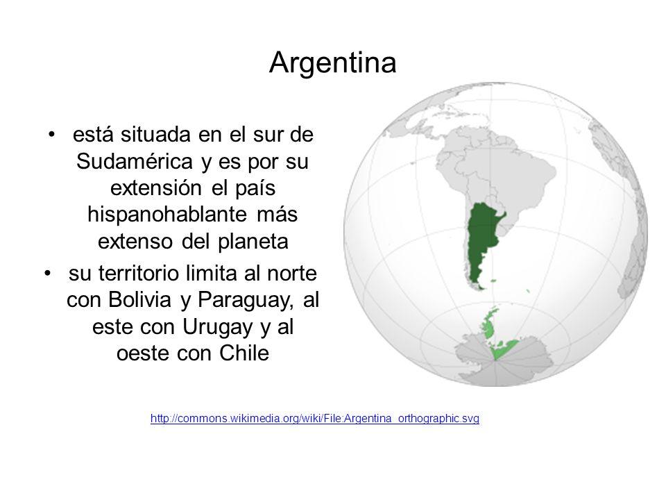 Argentina está situada en el sur de Sudamérica y es por su extensión el país hispanohablante más extenso del planeta su territorio limita al norte con Bolivia y Paraguay, al este con Urugay y al oeste con Chile http://commons.wikimedia.org/wiki/File:Argentina_orthographic.svg