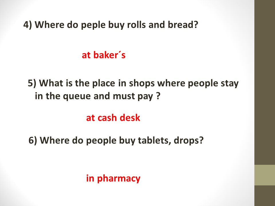 6) Where do people buy tablets, drops. 4) Where do peple buy rolls and bread.