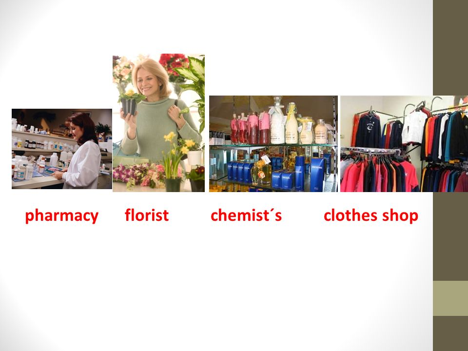 pharmacy florist chemist´s clothes shop