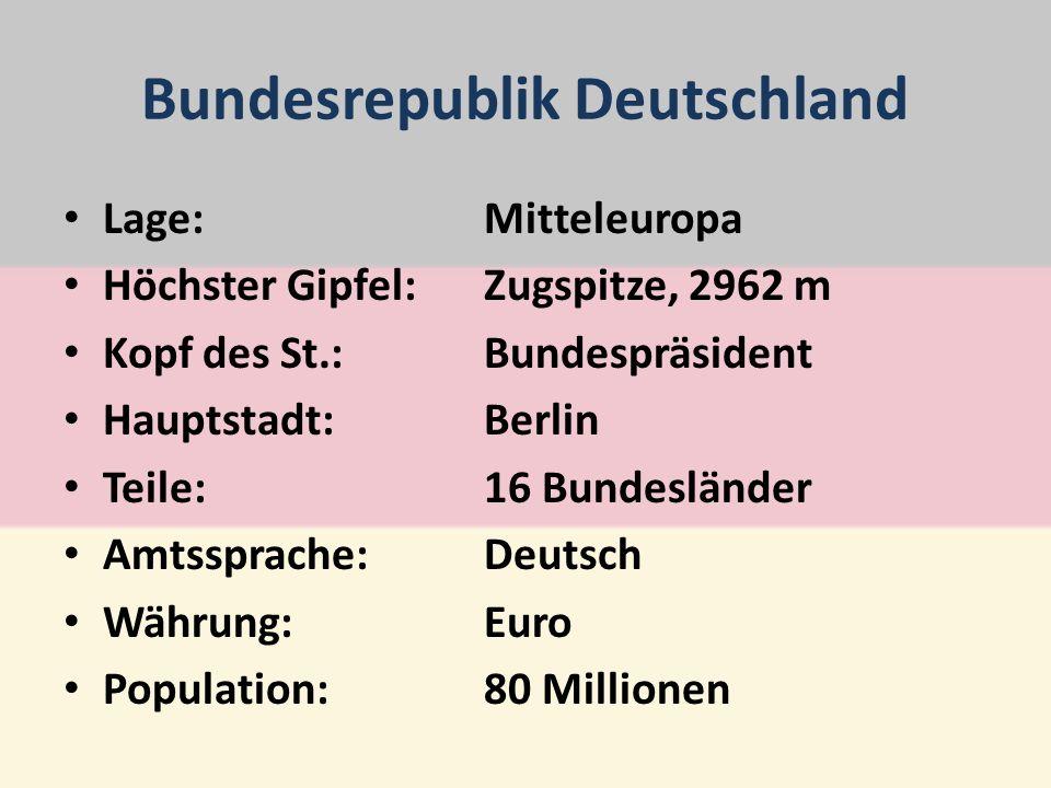 Bundesrepublik Deutschland Lage:Mitteleuropa Höchster Gipfel:Zugspitze, 2962 m Kopf des St.:Bundespräsident Hauptstadt:Berlin Teile:16 Bundesländer Amtssprache:Deutsch Währung:Euro Population:80 Millionen