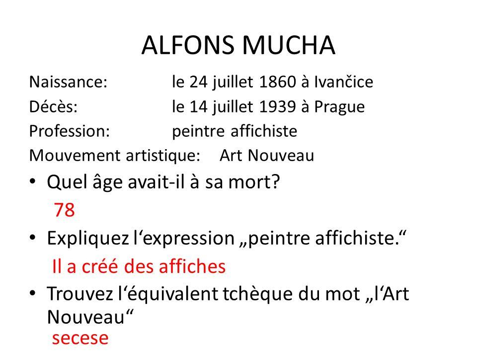 Voici quatre oeuvres d'Alfons Mucha.Attribuez leurs quatre noms ci-dessous.