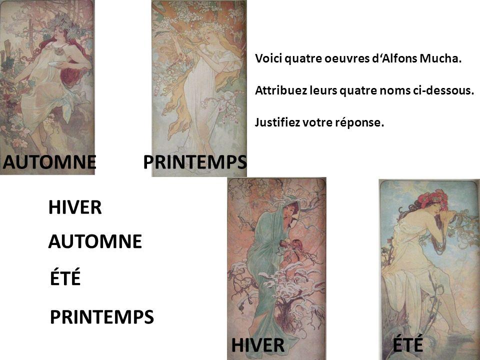 Voici quatre oeuvres d'Alfons Mucha. Attribuez leurs quatre noms ci-dessous.