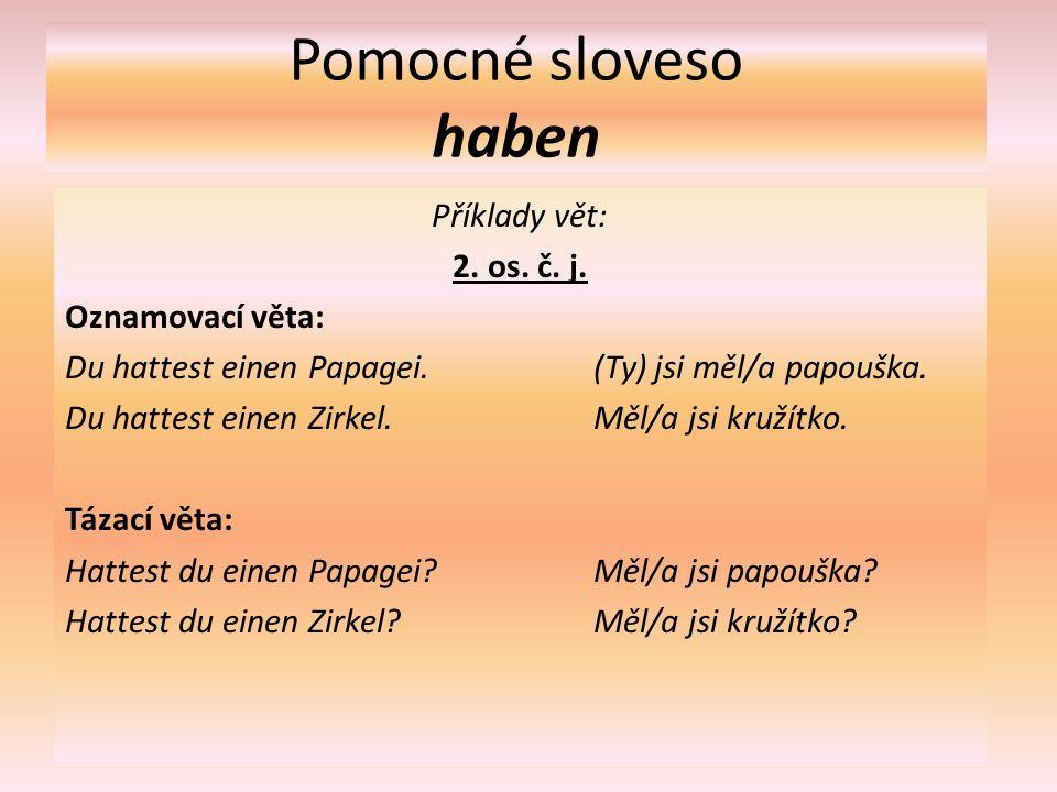 Pomocné sloveso haben Příklady vět: 3.os. č. j. Oznamovací věta: Er hatte einen Hund.(On) měl psa.