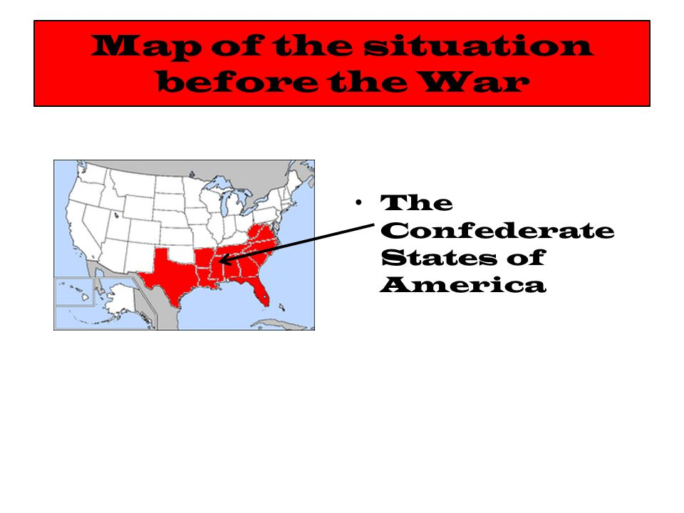 186O Abraham Lincoln elected 16th Prezident of the USA political situation – abolitionists winning N - advantage X S - disadvanatge protests and resolute decision = separation → new state The Confederate States of America