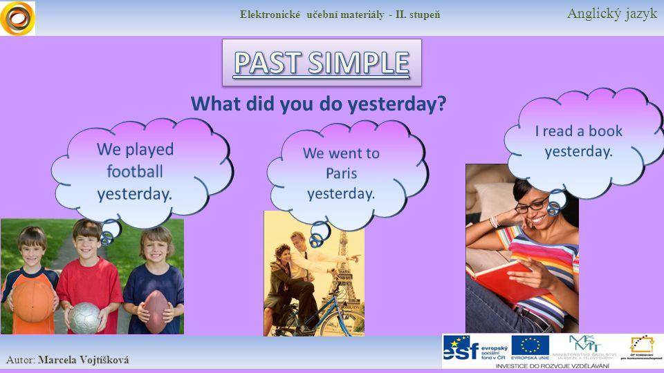 Elektronické učební materiály - II. stupeň Anglický jazyk Autor: Marcela Vojtíšková What did you do yesterday?