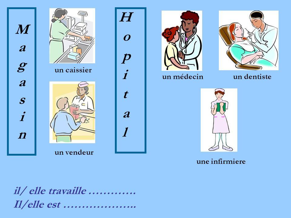 MagasinMagasin H o p i t a l un vendeur un caissier un médecinun dentiste une infirmiere il/ elle travaille ………….