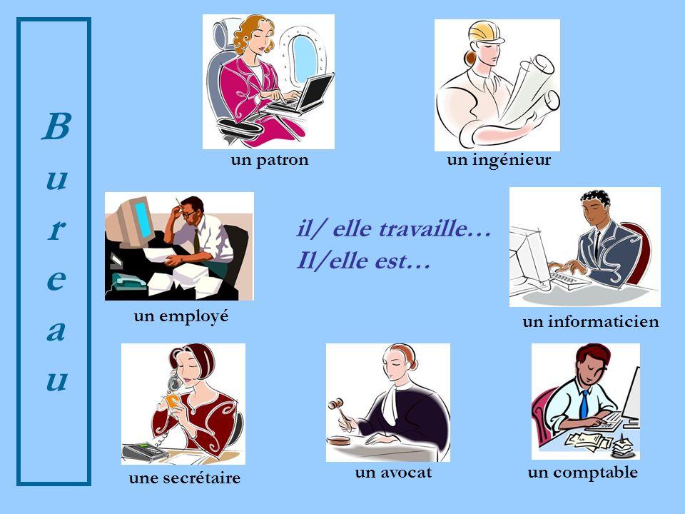 BureauBureau il/ elle travaille… Il/elle est… un employé un ingénieur une secrétaire un patron un avocat un informaticien un comptable