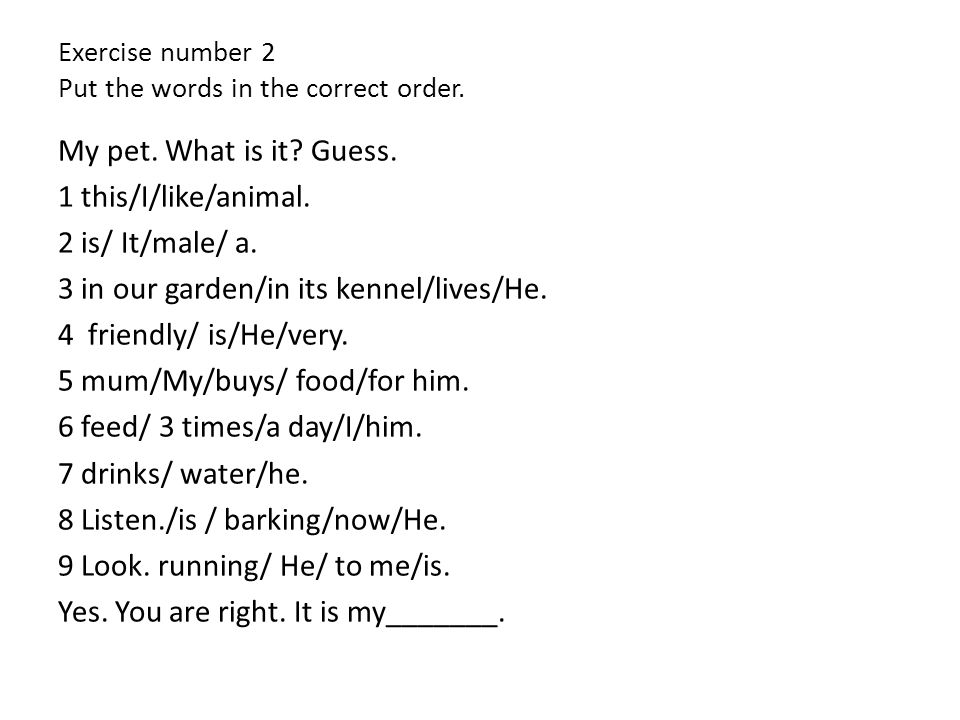 Exercise number 3 Make the questions.