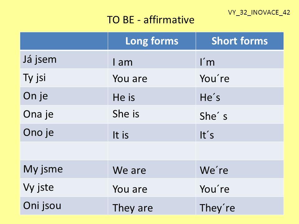Long formsShort forms Já jsem Ty jsi On je Ona je Ono je My jsme Vy jste Oni jsou TO BE - affirmative I amI´m You areYou´re He isHe´s She is She´ s It
