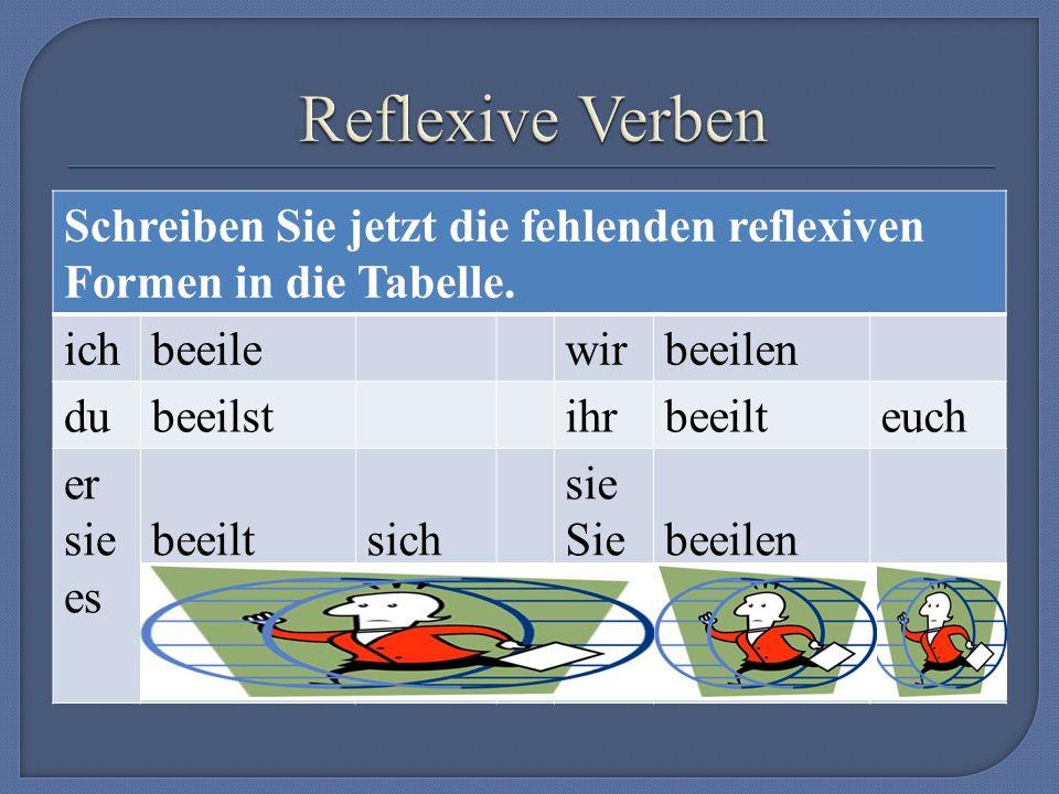 Schreiben Sie jetzt die fehlenden reflexiven Formen in die Tabelle.