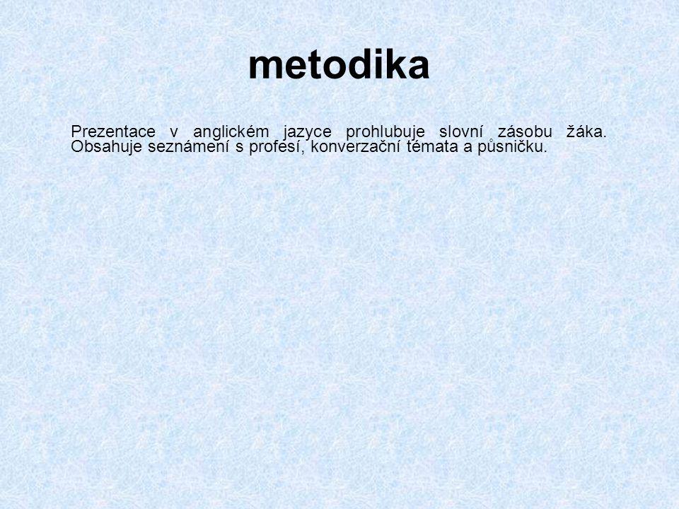 metodika Prezentace v anglickém jazyce prohlubuje slovní zásobu žáka.