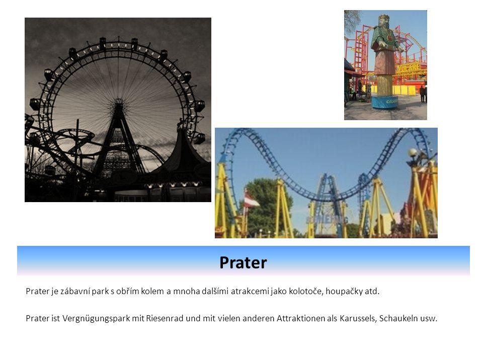 Prater Prater je zábavní park s obřím kolem a mnoha dalšími atrakcemi jako kolotoče, houpačky atd.