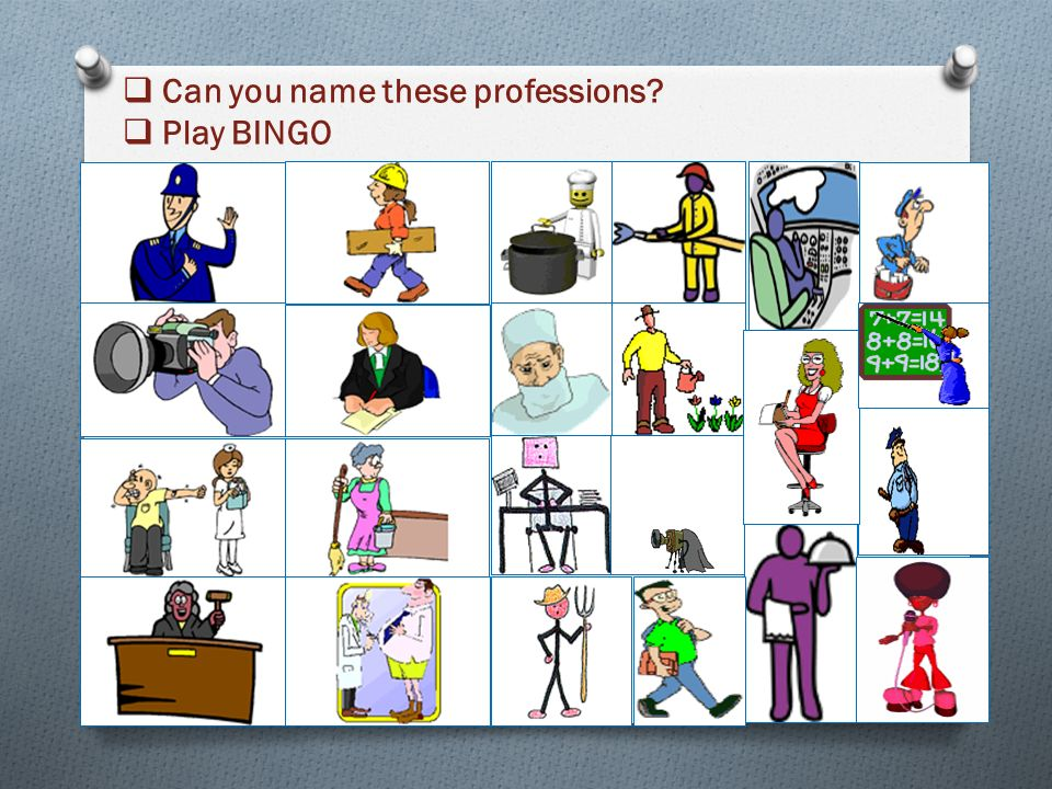  Can you name these professions  Play BINGO