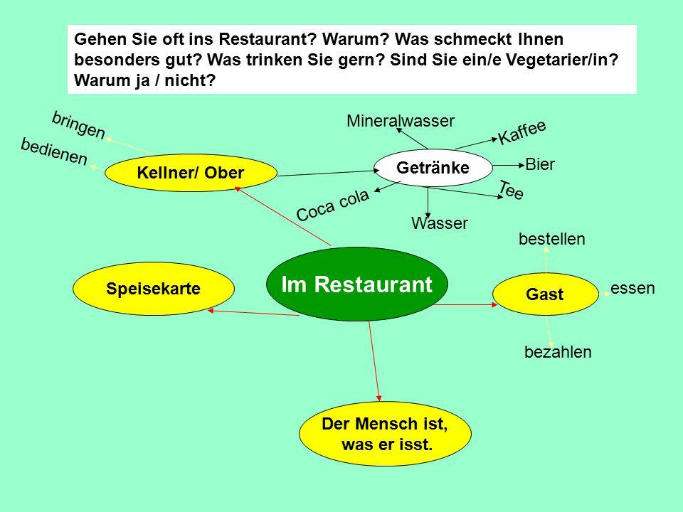 Gehen Sie oft ins Restaurant? Warum? Was schmeckt Ihnen besonders gut? Was trinken Sie gern? Sind Sie ein/e Vegetarier/in? Warum ja / nicht? Im Restau