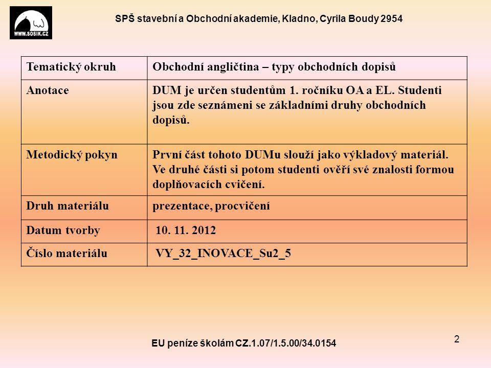 SPŠ stavební a Obchodní akademie, Kladno, Cyrila Boudy 2954 EU peníze školám CZ.1.07/1.5.00/34.0154 2 Tematický okruhObchodní angličtina – typy obchodních dopisů AnotaceDUM je určen studentům 1.