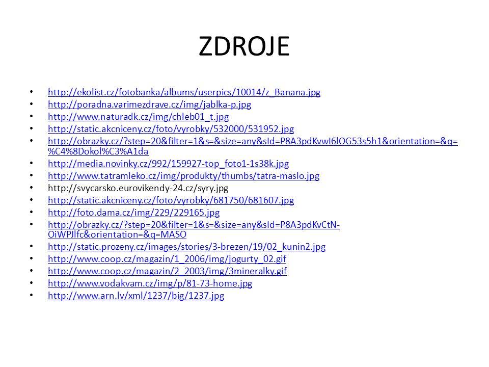 ZDROJE http://ekolist.cz/fotobanka/albums/userpics/10014/z_Banana.jpg http://poradna.varimezdrave.cz/img/jablka-p.jpg http://www.naturadk.cz/img/chleb