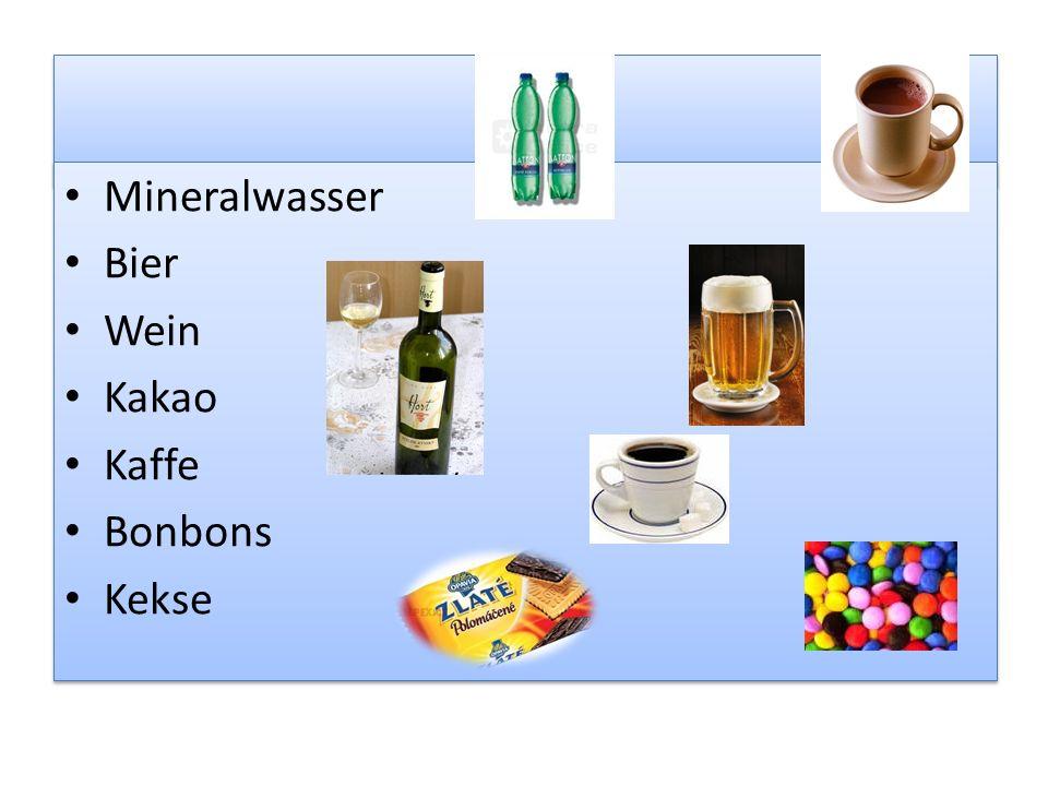 Mineralwasser Bier Wein Kakao Kaffe Bonbons Kekse Mineralwasser Bier Wein Kakao Kaffe Bonbons Kekse