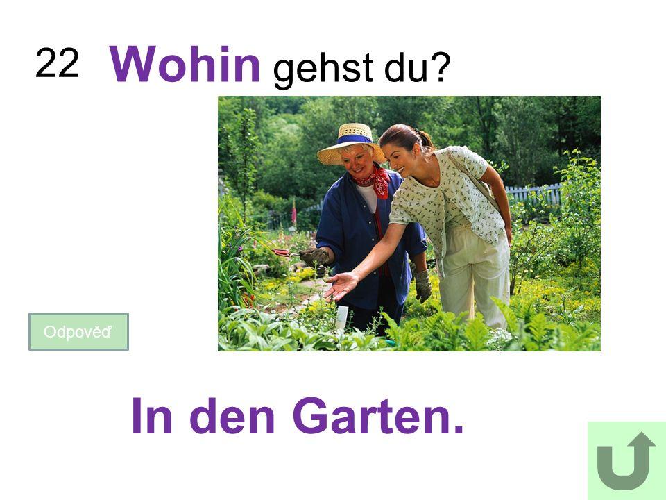 22 Wohin gehst du? Odpověď In den Garten.