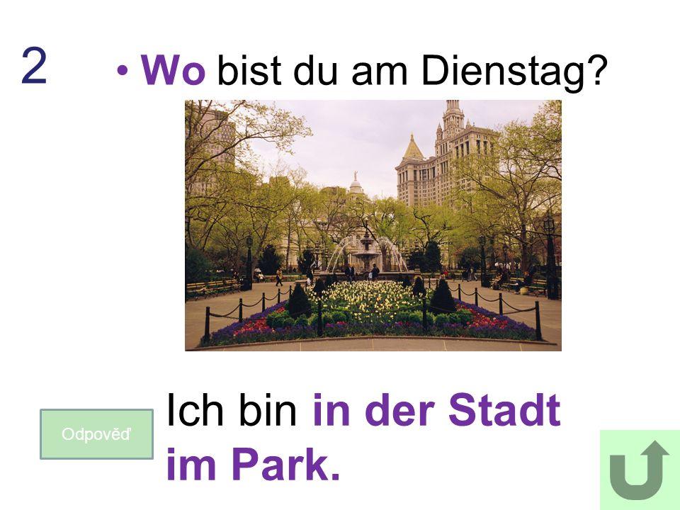 Wo bist du am Dienstag? Odpověď 2 Ich bin in der Stadt im Park.
