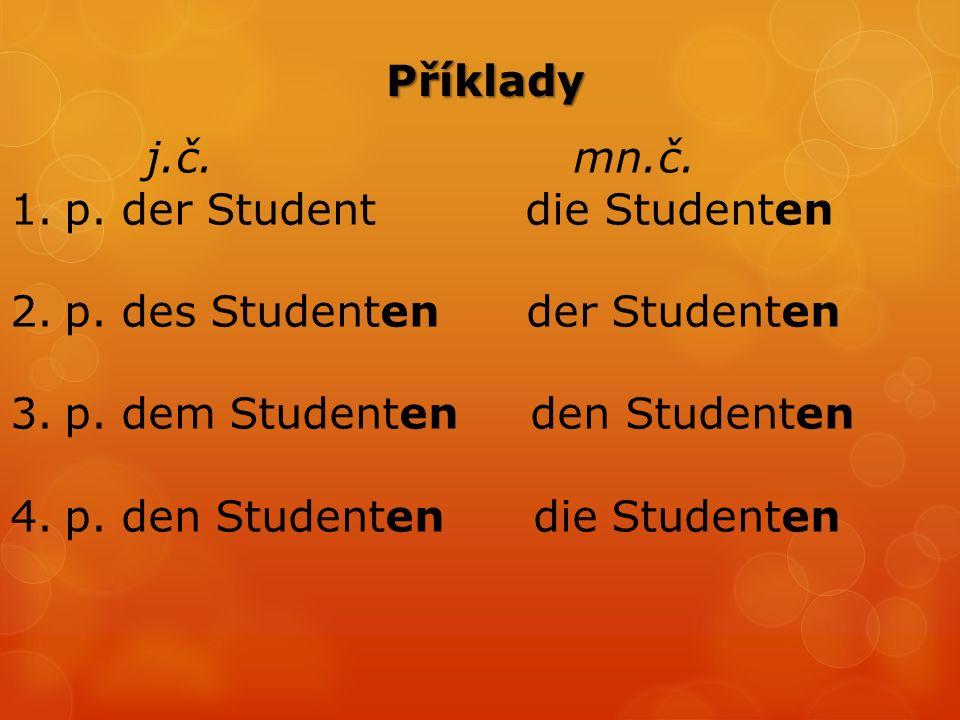 Příklady j.č. mn.č. 1.p. der Student die Studenten 2.p.
