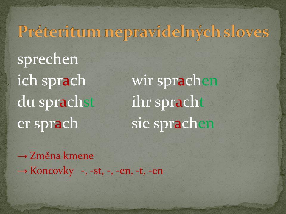 sprechen ich sprachwir sprachen du sprachstihr spracht er sprachsie sprachen → Změna kmene → Koncovky -, -st, -, -en, -t, -en