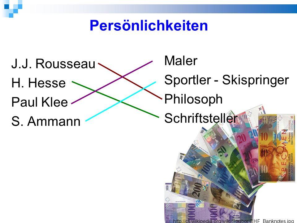 Persönlichkeiten J.J. Rousseau H. Hesse Paul Klee S.