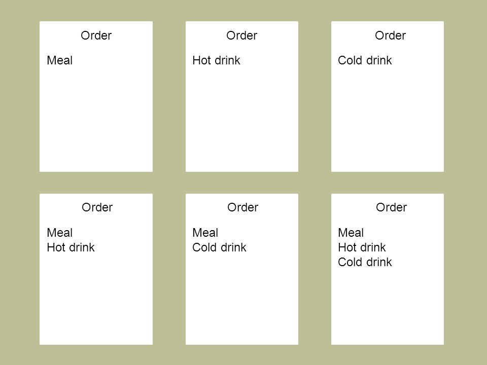 Order Meal Hot drink Meal Cold drink Meal Hot drink Cold drink Hot drinkCold drink